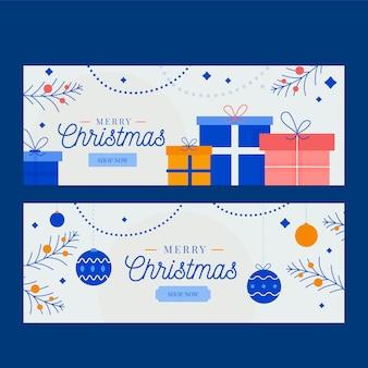 フラットデザインのクリスマスバナーコレクション