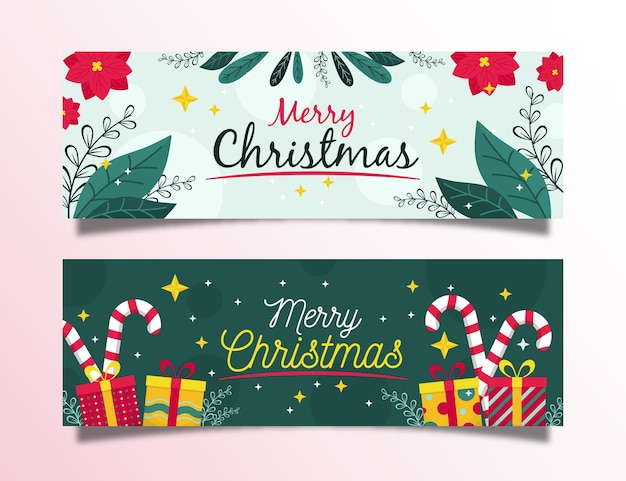 Flat design christmas banners collection