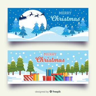 Flat design christmas banners template