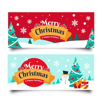 Рождественские баннеры в плоском дизайне