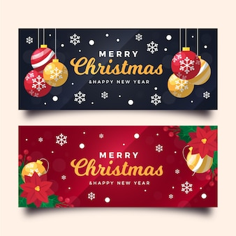 Flat design christmas banners template