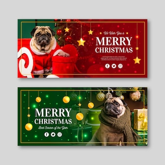 パグの写真とフラットなデザインのクリスマスバナー