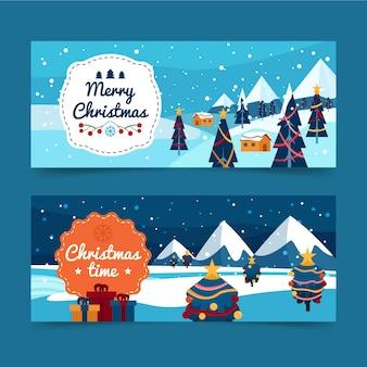 フラットデザインのクリスマスバナー