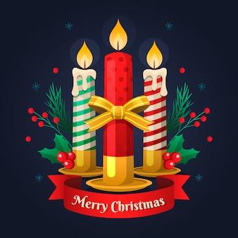 Flat design christmas candle background concept