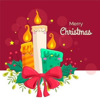 Flat design christmas candle background