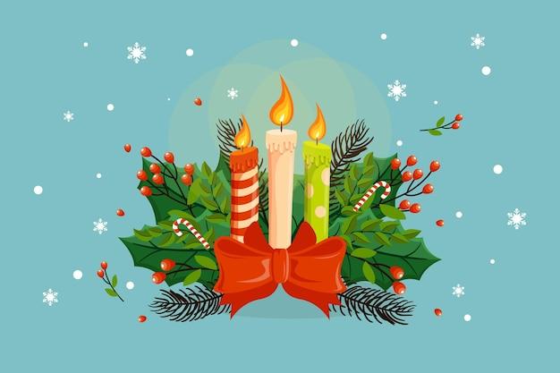 평면 디자인 크리스마스 촛불 배경