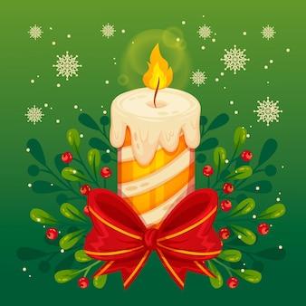 Рождественская свеча в плоском дизайне