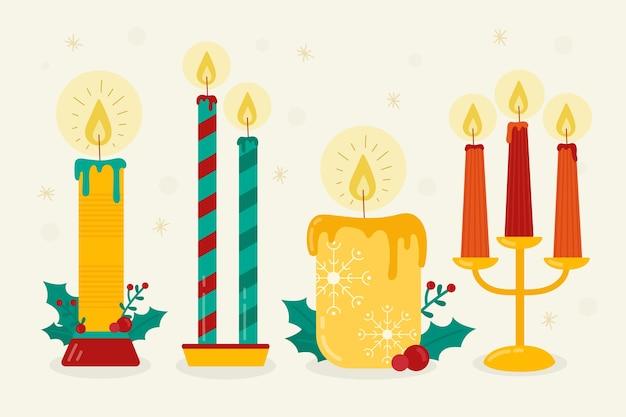 Плоская рождественская коллекция свечей