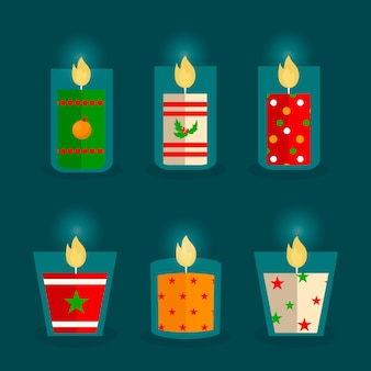 Flat design christmas candle collection