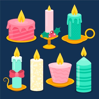Collezione di candele natalizie design piatto