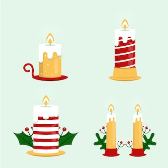 Коллекция рождественских свечей в плоском дизайне