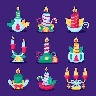평면 디자인 크리스마스 촛불 컬렉션