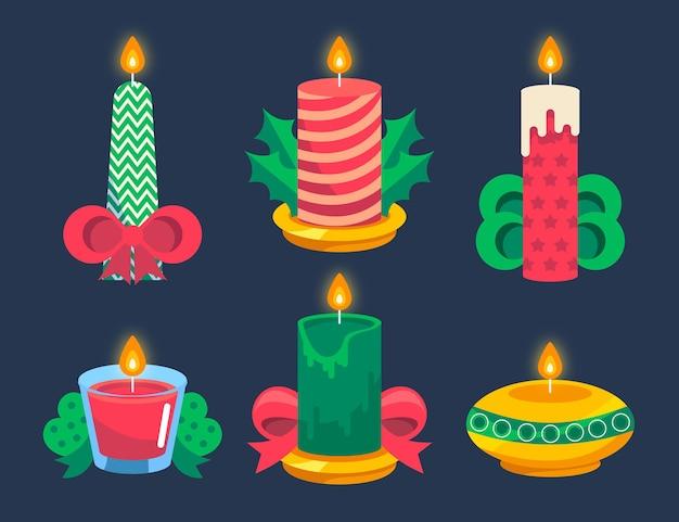 Confezione di candele natalizie design piatto