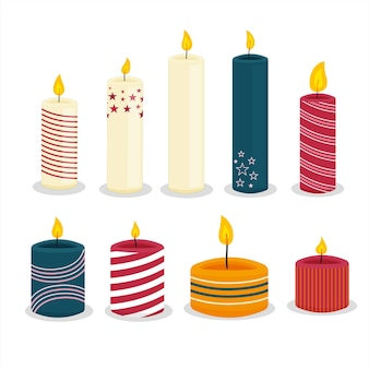 Set di candele di natale design piatto