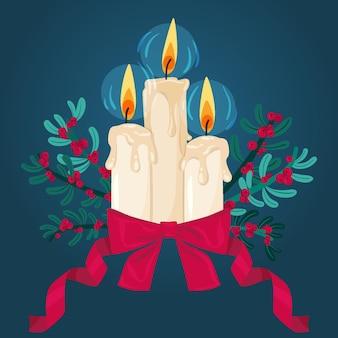 Рождественские свечи в плоском дизайне