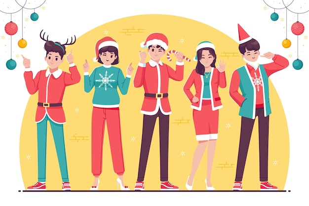 Flat design christmas cartoon character collection