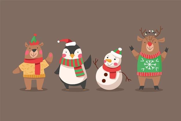 평면 디자인 크리스마스 캐릭터 컬렉션