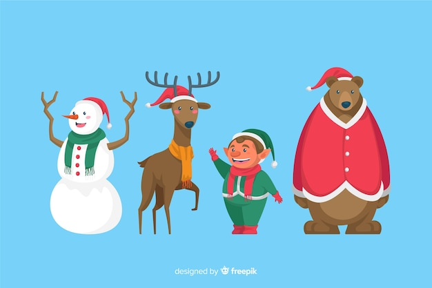 Flat design christmas characters collection