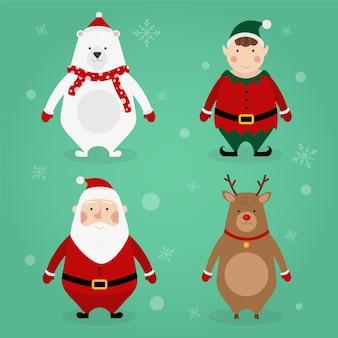 Плоский дизайн коллекции рождественских персонажей