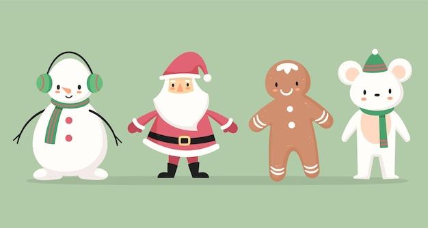 フラットデザインのクリスマスキャラクターコレクション
