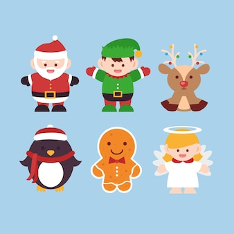 Flat design christmas characters set