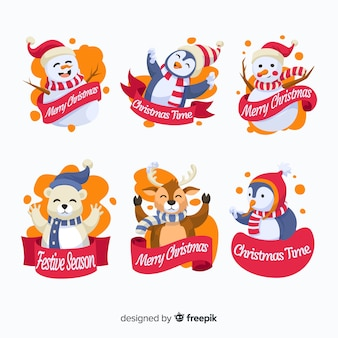 Flat design of christmas cute badge collection