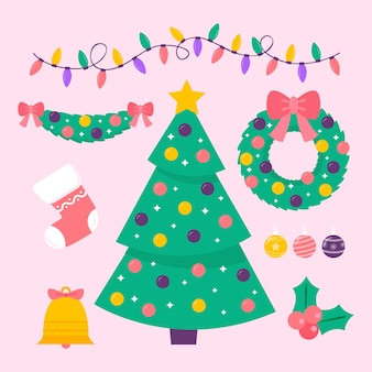 Flat design christmas decoration collection
