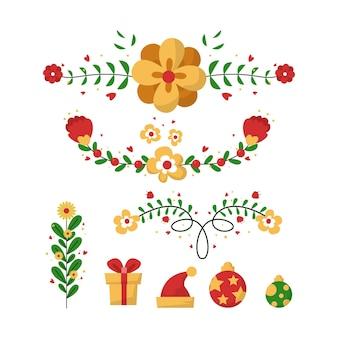 フラットデザインのクリスマスデコレーションコレクション