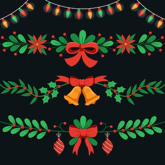 Collezione di decorazioni natalizie design piatto
