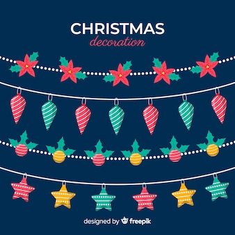 Flat design christmas decoration pack