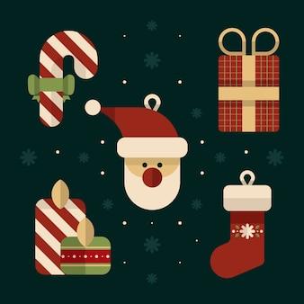 Flat design christmas decoration pack