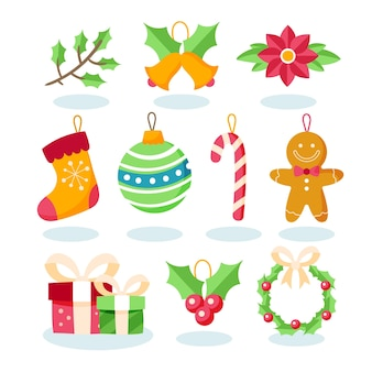 Flat design christmas decoration set