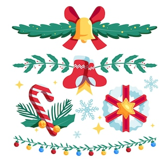 Плоский дизайн рождественских декоративных элементов