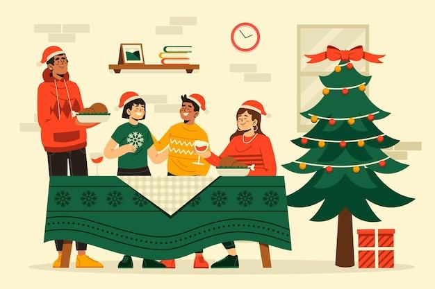 Illustrazione di scena della cena di natale design piatto