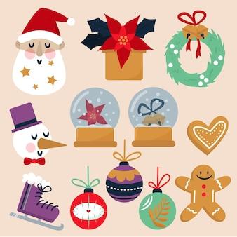 フラットデザインのクリスマス要素コレクション