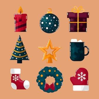 평면 디자인 크리스마스 요소 컬렉션
