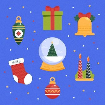 Flat design christmas element collection