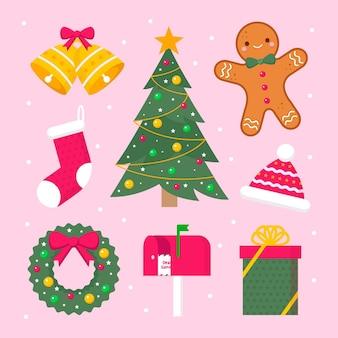 Плоский дизайн рождественский элемент коллекции иллюстраций