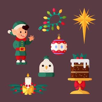 フラットなデザインのクリスマス要素イラスト集