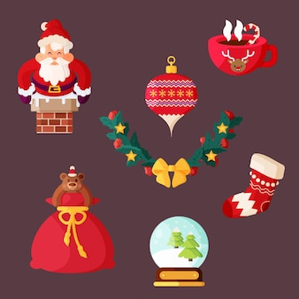 Flat design christmas element pack