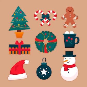 Flat design christmas element set