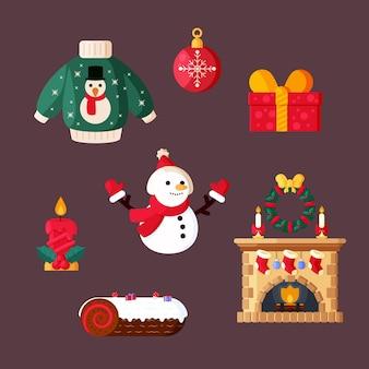 Рождественский элемент дизайна плоский набор