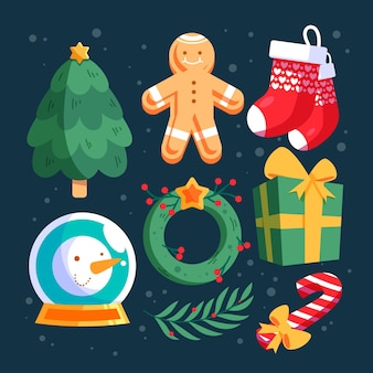 Flat design christmas elements collection