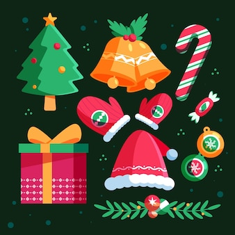 Flat design christmas elements set