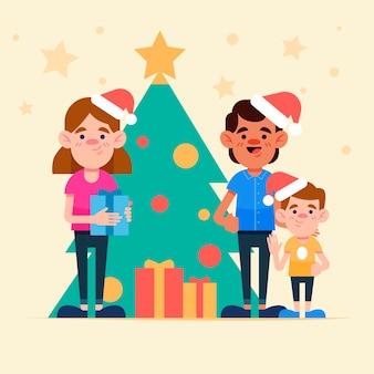 Flat design christmas family scene concept