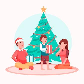 Flat design christmas family scene