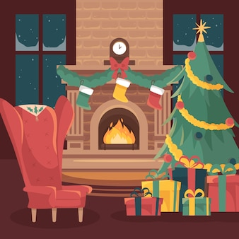 Flat design christmas fireplace scene illustration