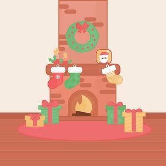 Flat design christmas fireplace scene