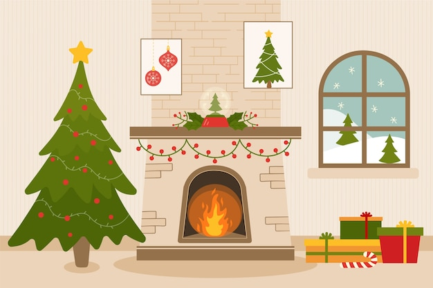 Flat design christmas fireplace scene