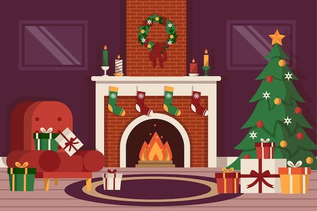 평면 디자인 크리스마스 벽난로 장면